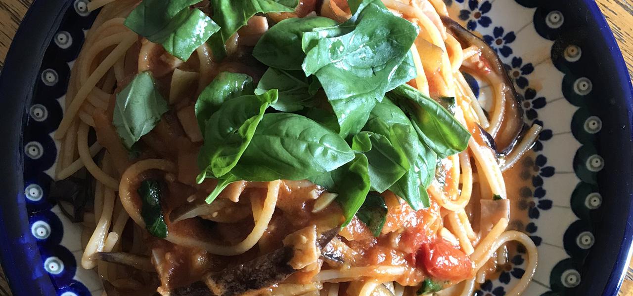 ナスとベーコンのトマト-spaghetti